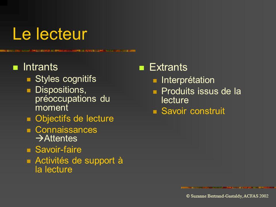 Le lecteur Intrants Extrants Styles cognitifs Interprétation