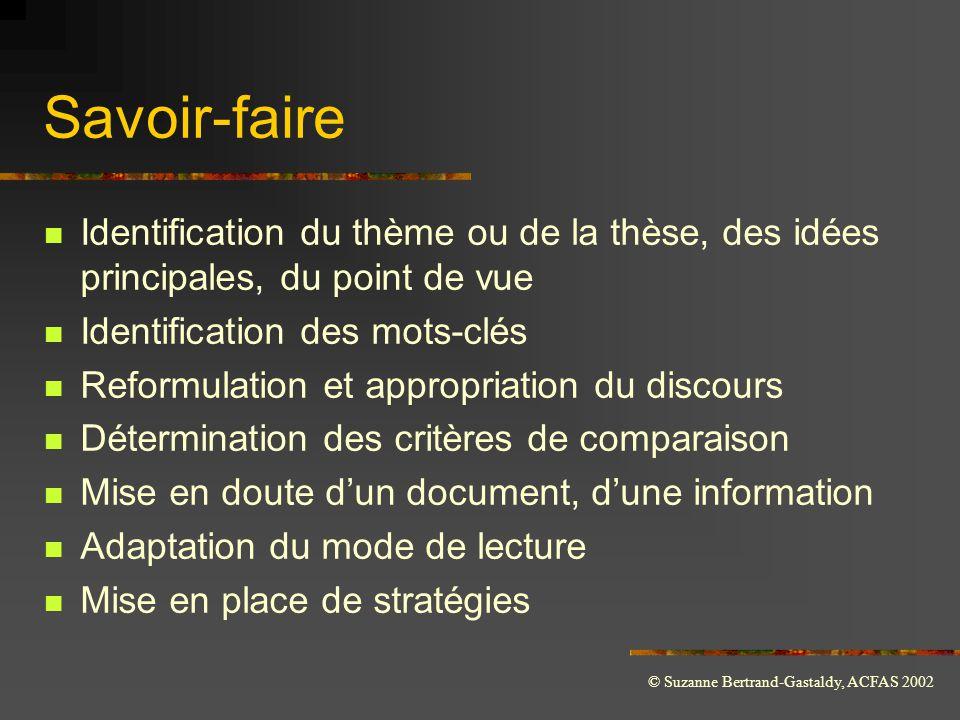 Savoir-faire Identification du thème ou de la thèse, des idées principales, du point de vue. Identification des mots-clés.
