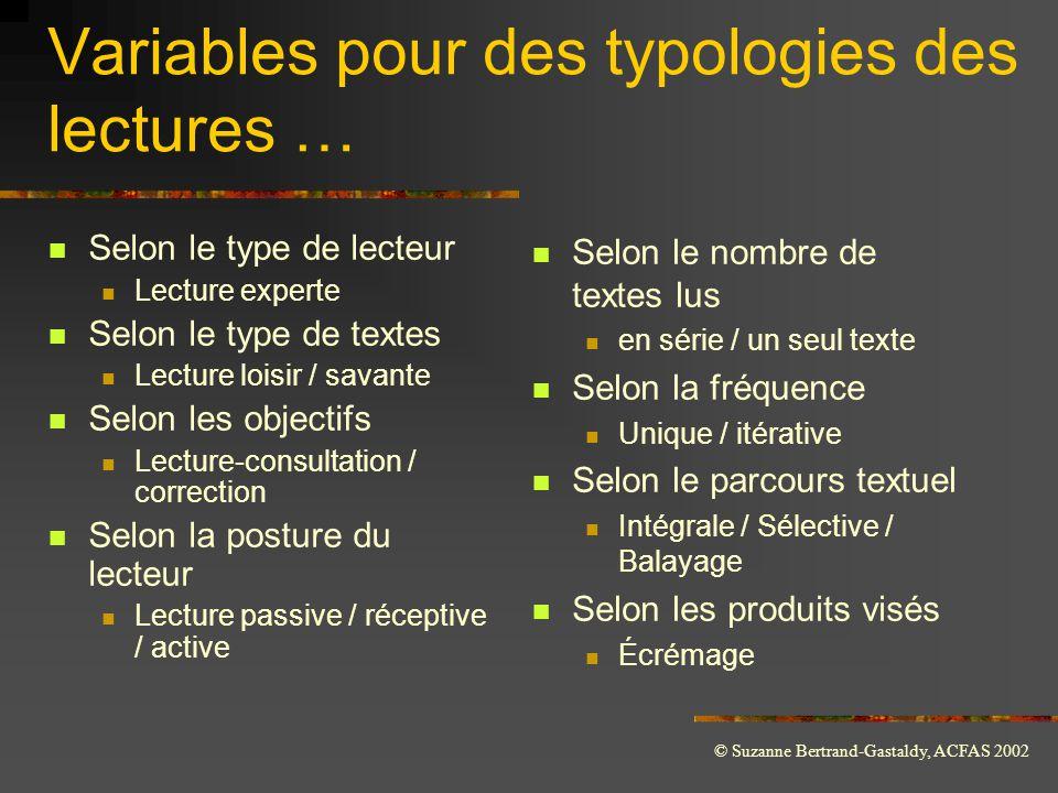 Variables pour des typologies des lectures …