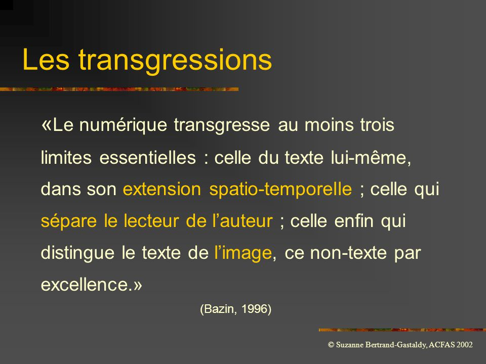 Les transgressions