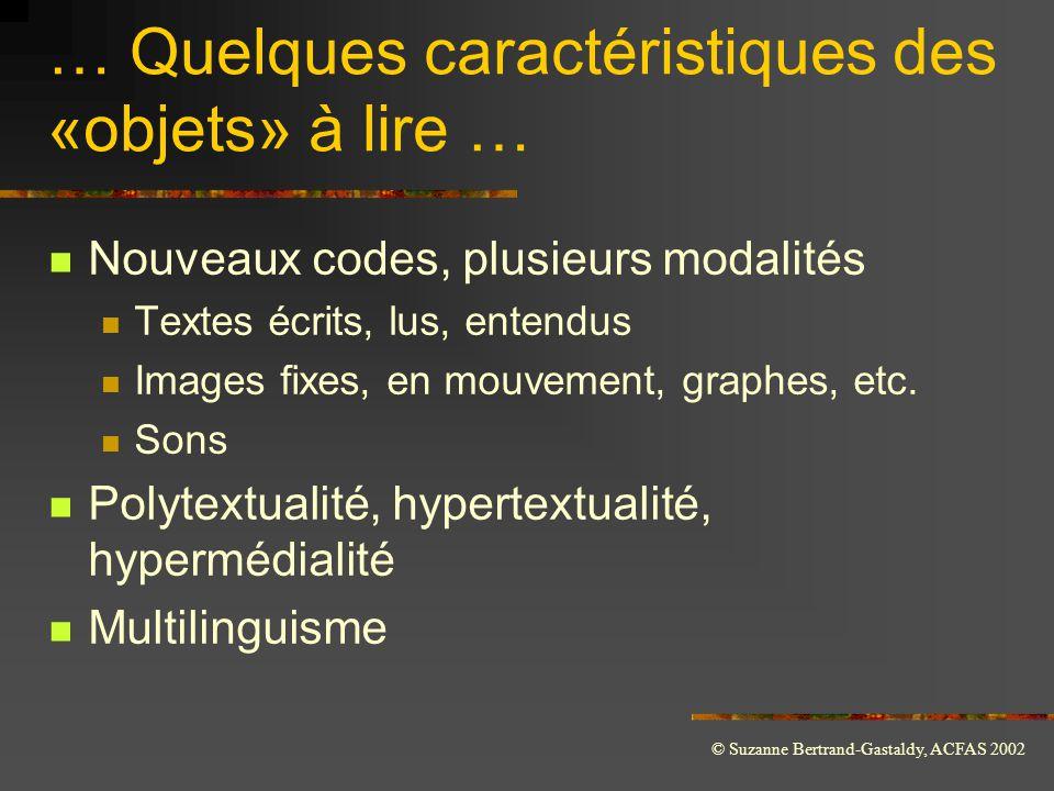 … Quelques caractéristiques des «objets» à lire …