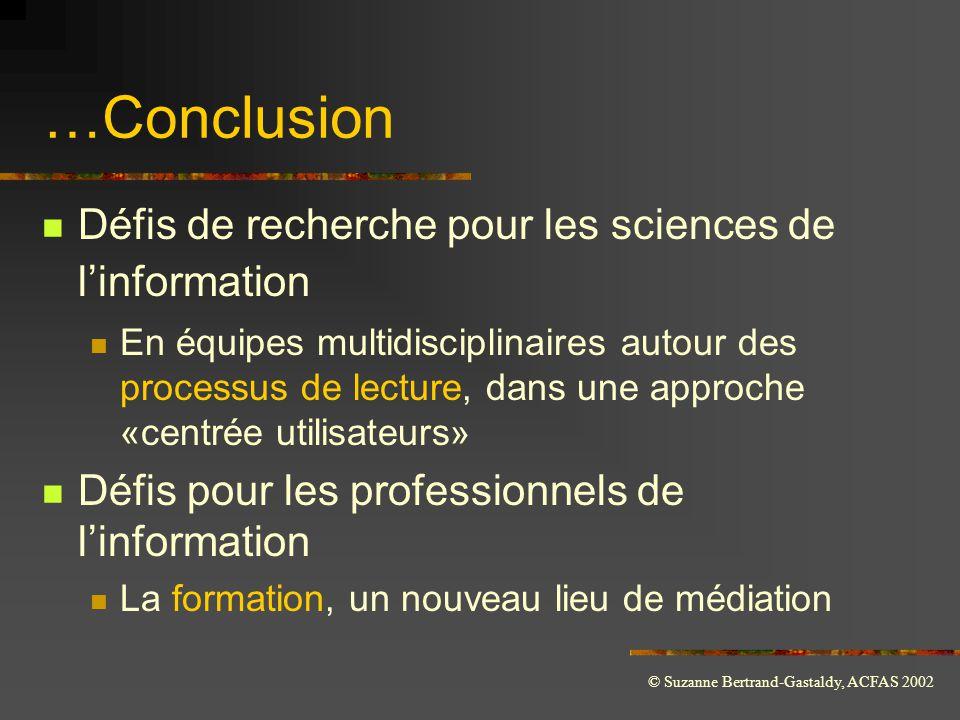 …Conclusion Défis de recherche pour les sciences de l'information