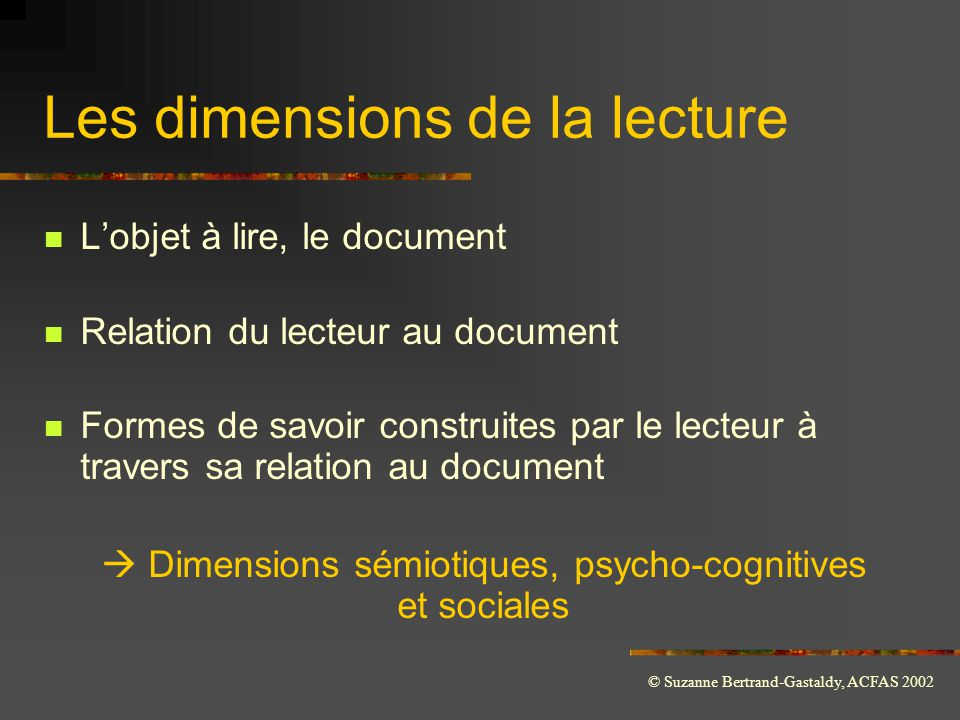 Les dimensions de la lecture