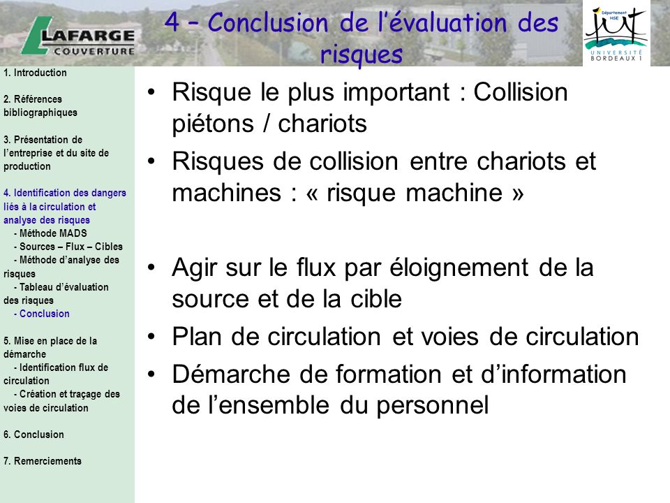 4 – Conclusion de l'évaluation des risques
