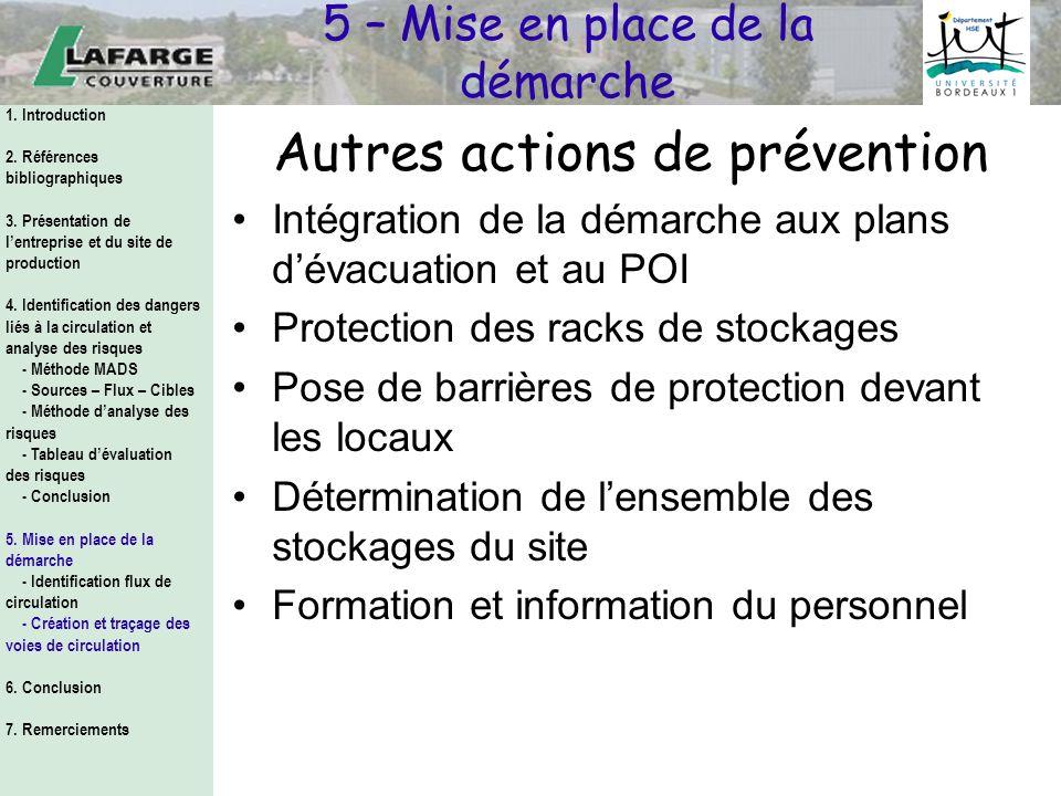 Autres actions de prévention