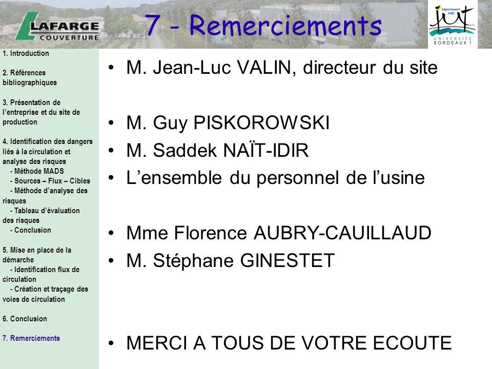 7 - Remerciements M. Jean-Luc VALIN, directeur du site