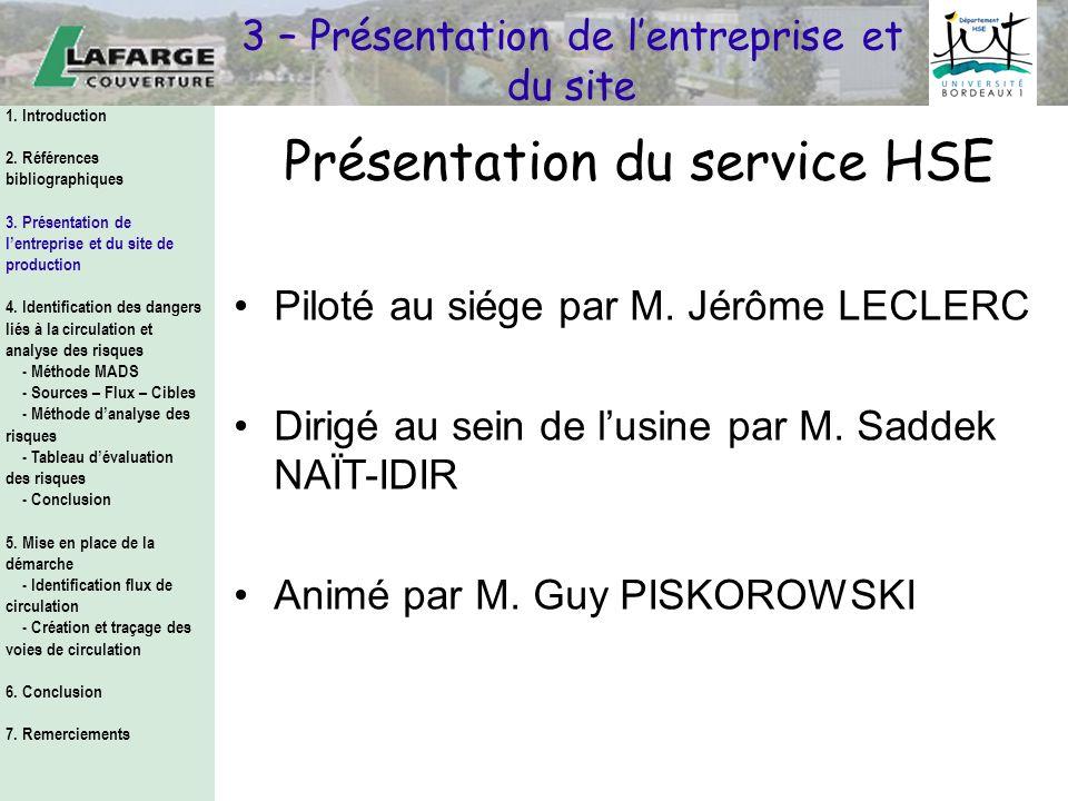 Présentation du service HSE