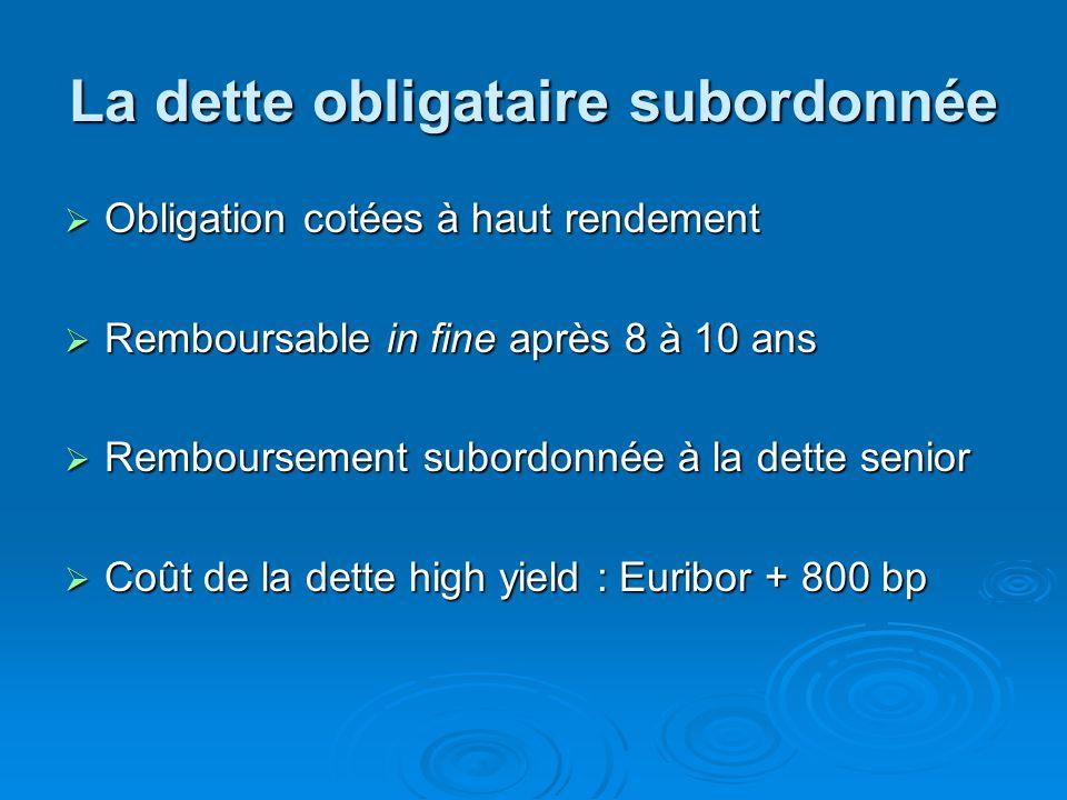 La dette obligataire subordonnée