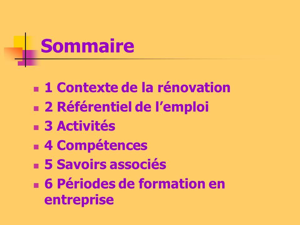 Sommaire 1 Contexte de la rénovation 2 Référentiel de l'emploi