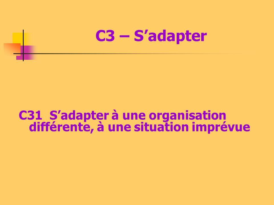 C3 – S'adapter C31 S'adapter à une organisation différente, à une situation imprévue