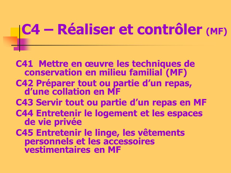 C4 – Réaliser et contrôler (MF)