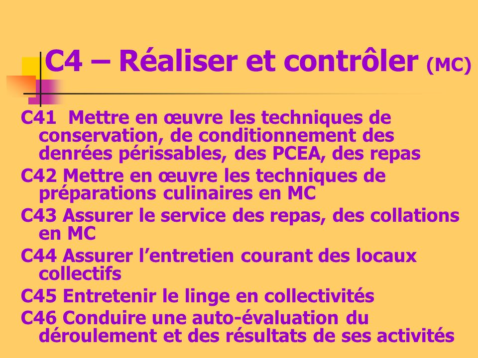 C4 – Réaliser et contrôler (MC)
