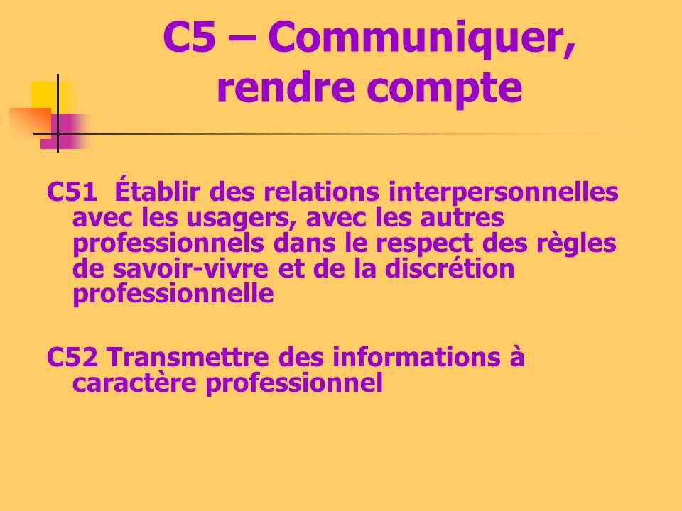 C5 – Communiquer, rendre compte