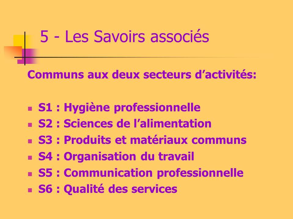 5 - Les Savoirs associés Communs aux deux secteurs d'activités: