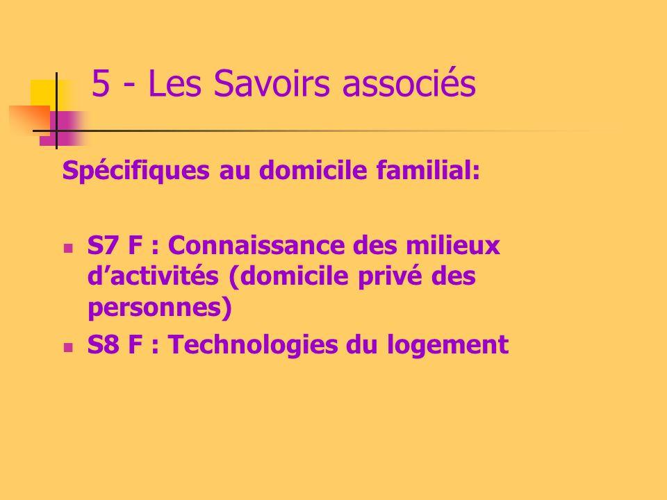 5 - Les Savoirs associés Spécifiques au domicile familial:
