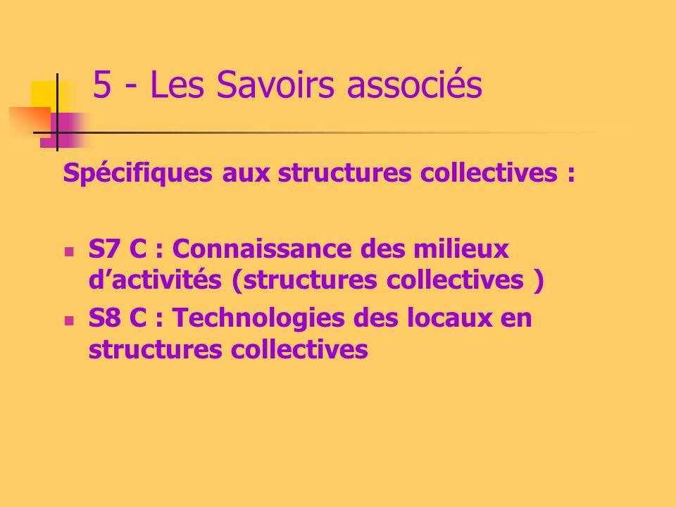 5 - Les Savoirs associés Spécifiques aux structures collectives :