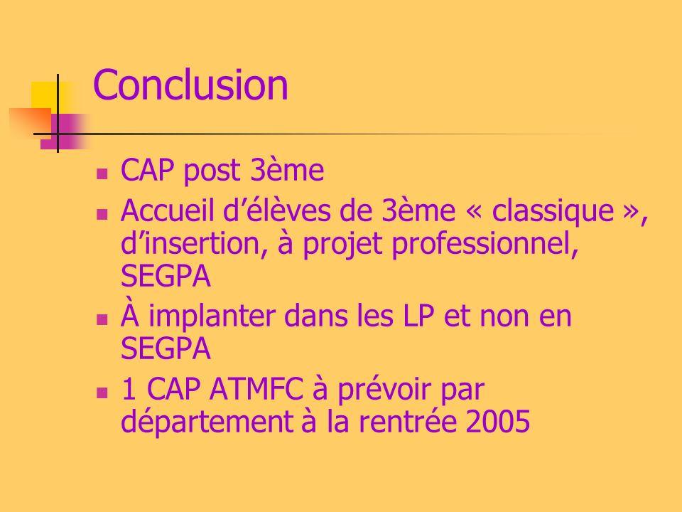 Conclusion CAP post 3ème