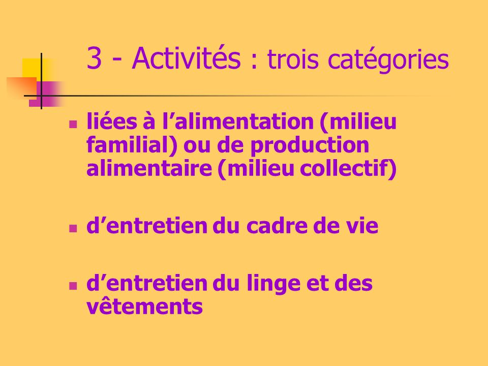 3 - Activités : trois catégories