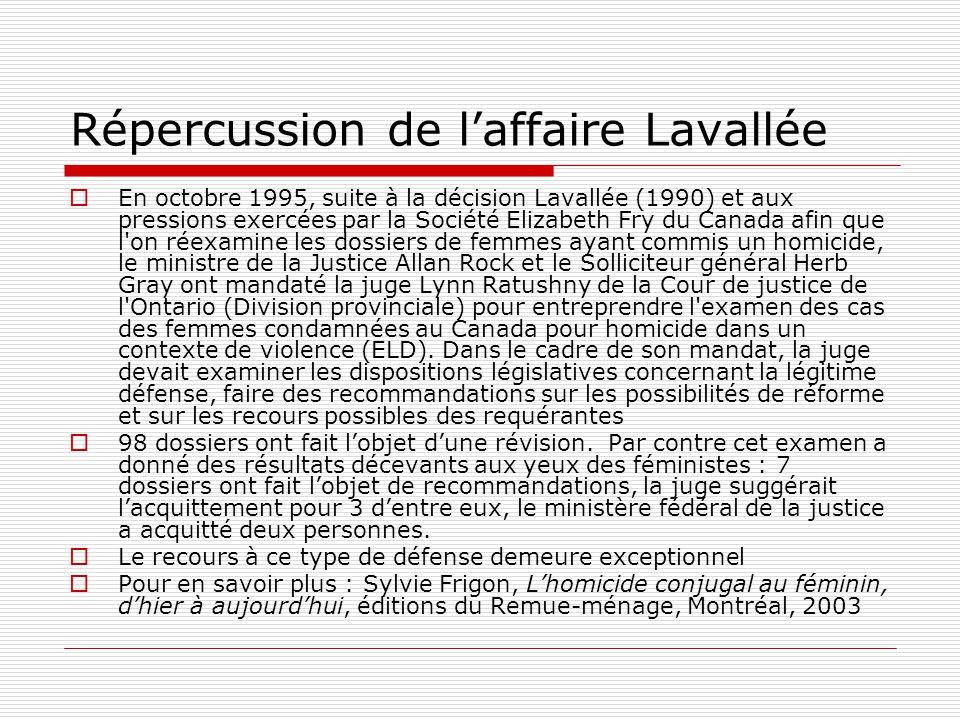 Répercussion de l'affaire Lavallée