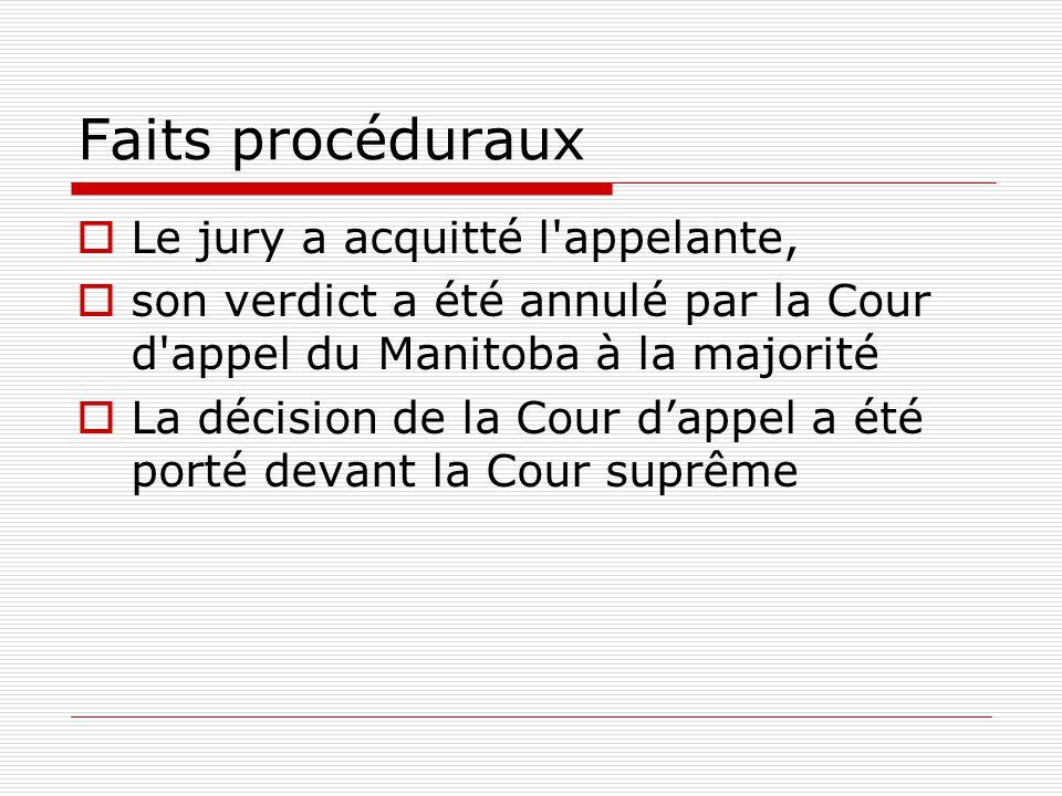Faits procéduraux Le jury a acquitté l appelante,
