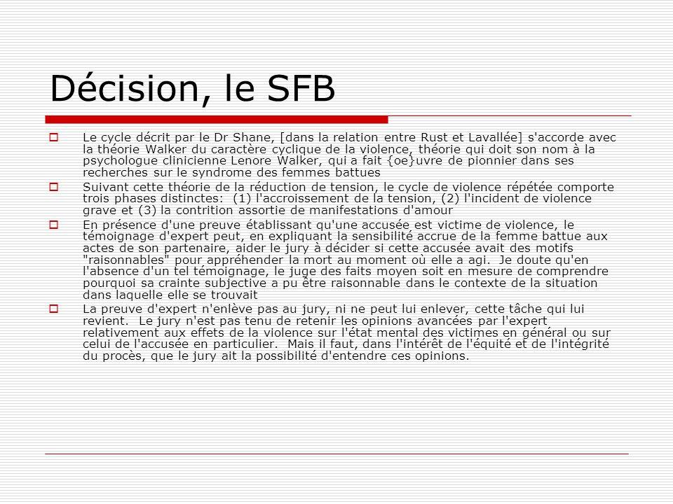 Décision, le SFB