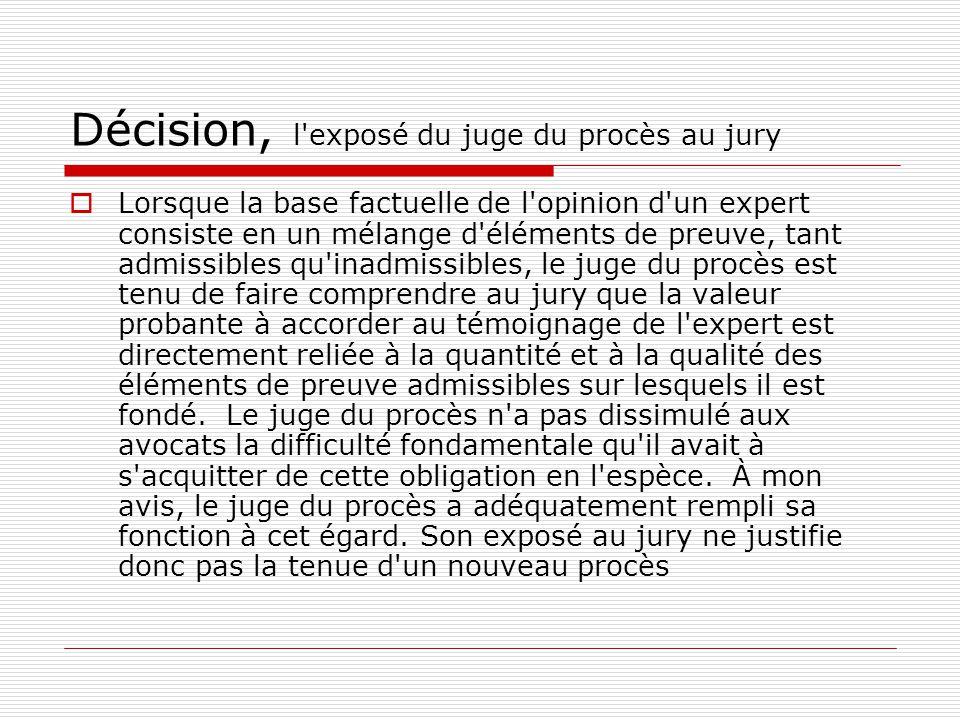 Décision, l exposé du juge du procès au jury
