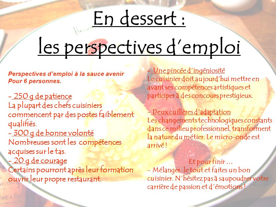 les perspectives d'emploi