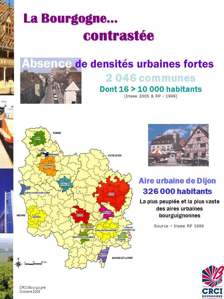 contrastée La Bourgogne… Absence de densités urbaines fortes