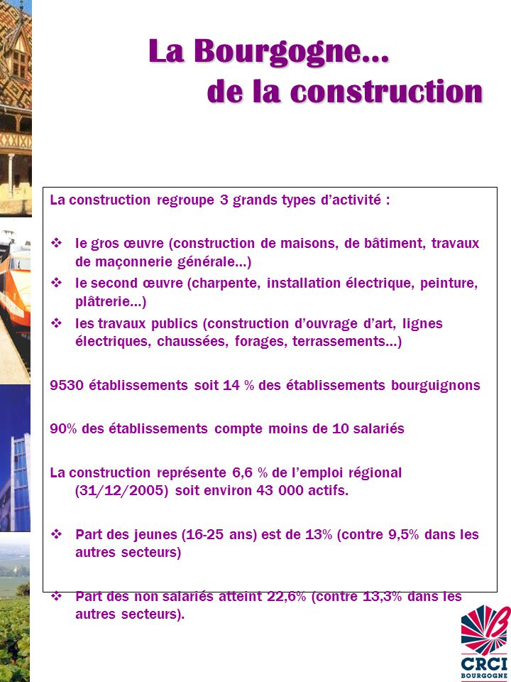La Bourgogne… de la construction