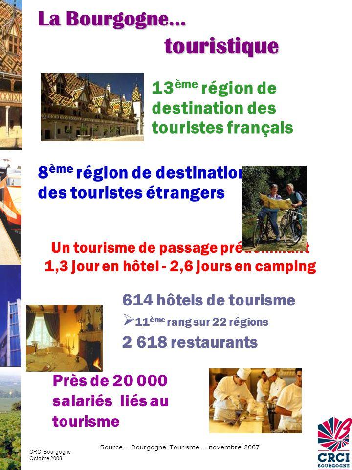 touristique La Bourgogne… 13ème région de destination des