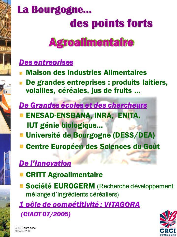 des points forts Agroalimentaire La Bourgogne… Des entreprises