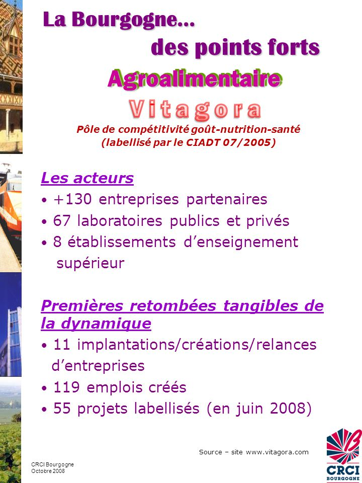 des points forts Agroalimentaire La Bourgogne… Les acteurs