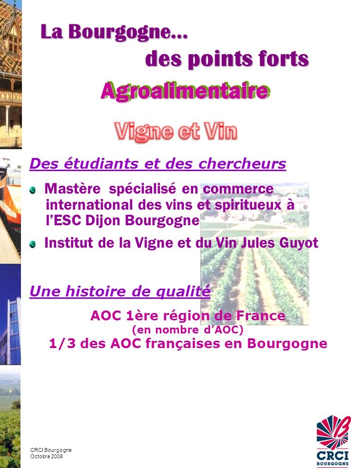 AOC 1ère région de France 1/3 des AOC françaises en Bourgogne