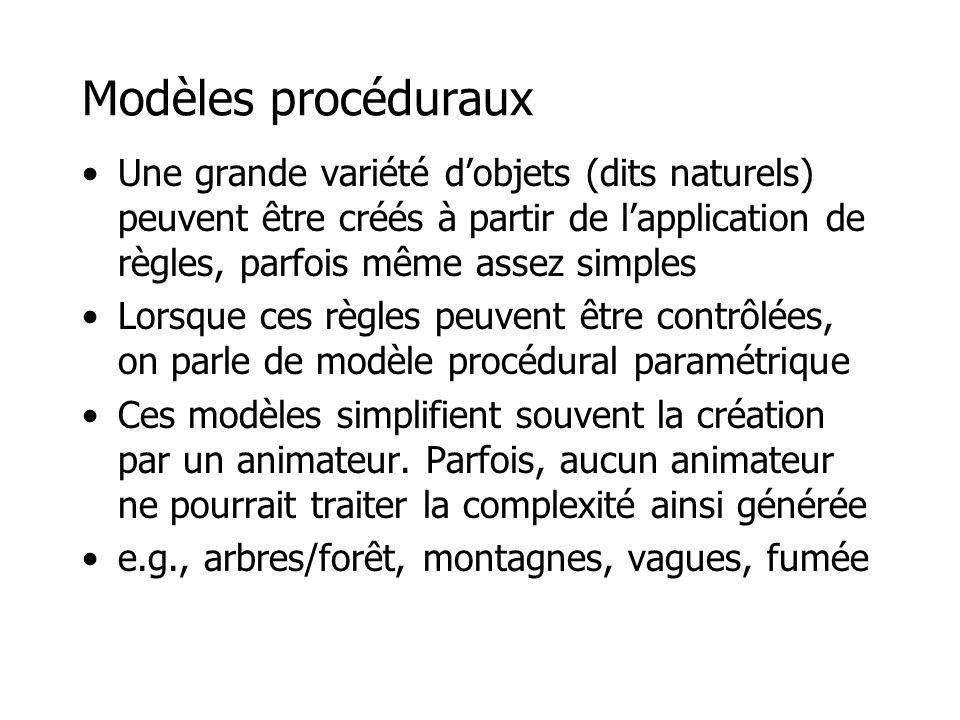 Modèles procéduraux Une grande variété d'objets (dits naturels) peuvent être créés à partir de l'application de règles, parfois même assez simples.