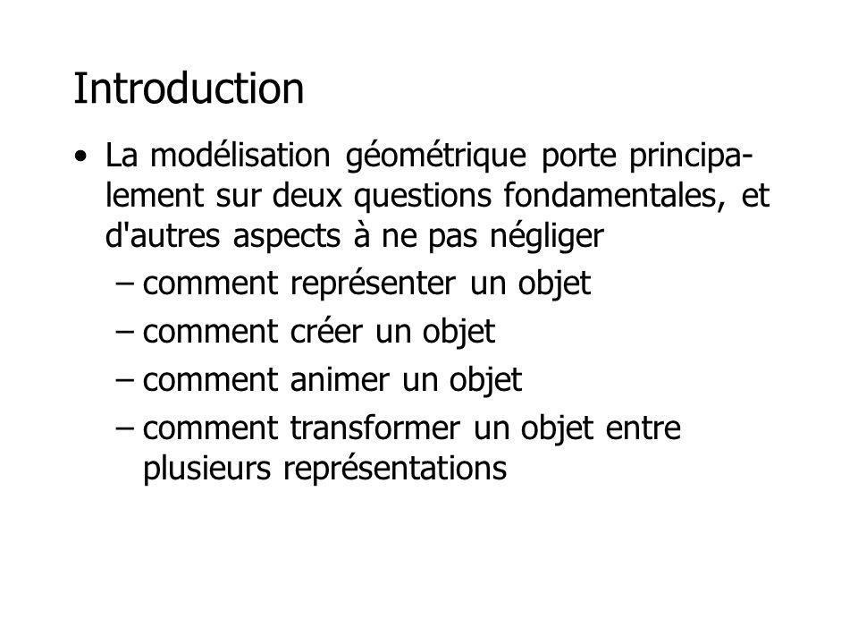 Introduction La modélisation géométrique porte principa-lement sur deux questions fondamentales, et d autres aspects à ne pas négliger.
