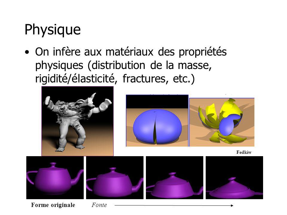 Physique On infère aux matériaux des propriétés physiques (distribution de la masse, rigidité/élasticité, fractures, etc.)