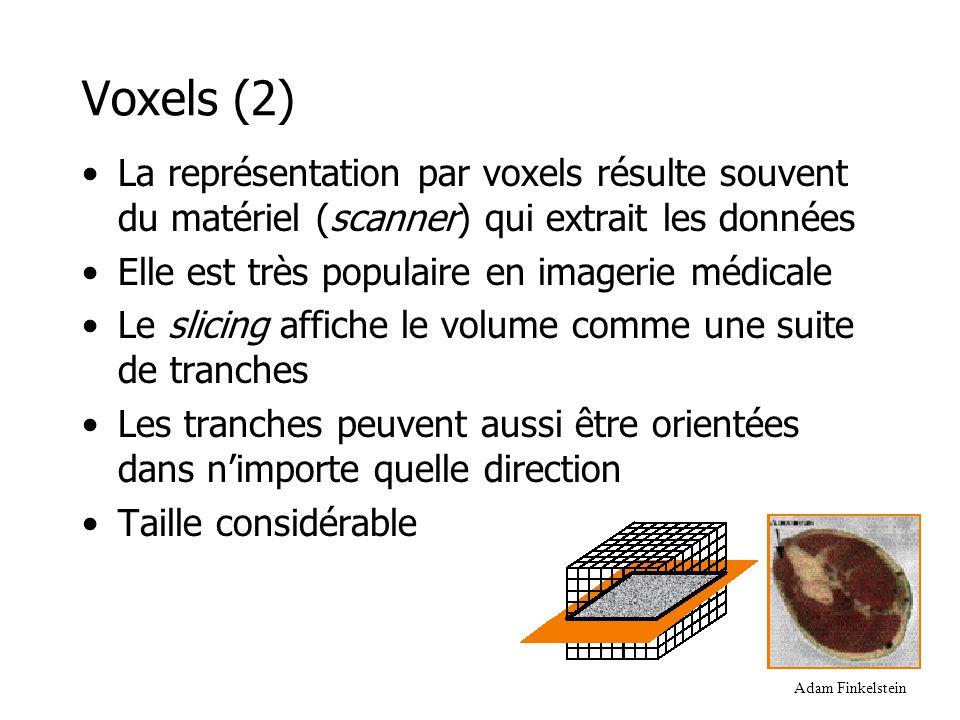 Voxels (2) La représentation par voxels résulte souvent du matériel (scanner) qui extrait les données.