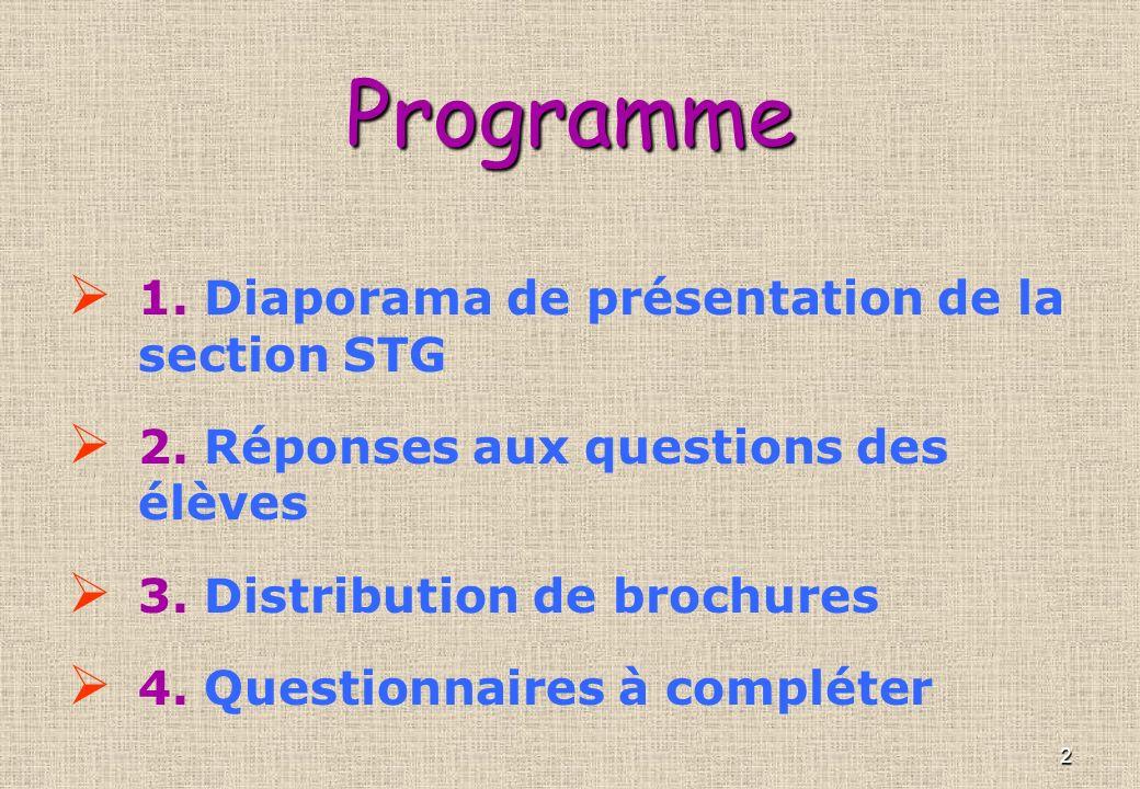 Programme 1. Diaporama de présentation de la section STG