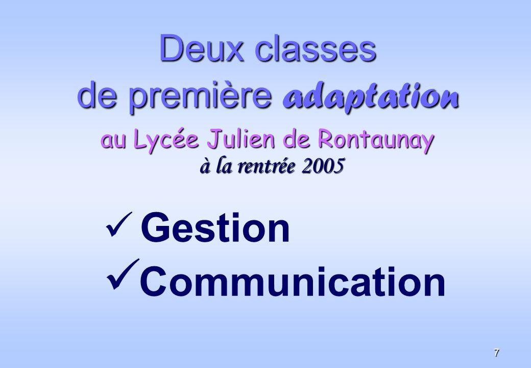 Deux classes de première adaptation au Lycée Julien de Rontaunay à la rentrée 2005