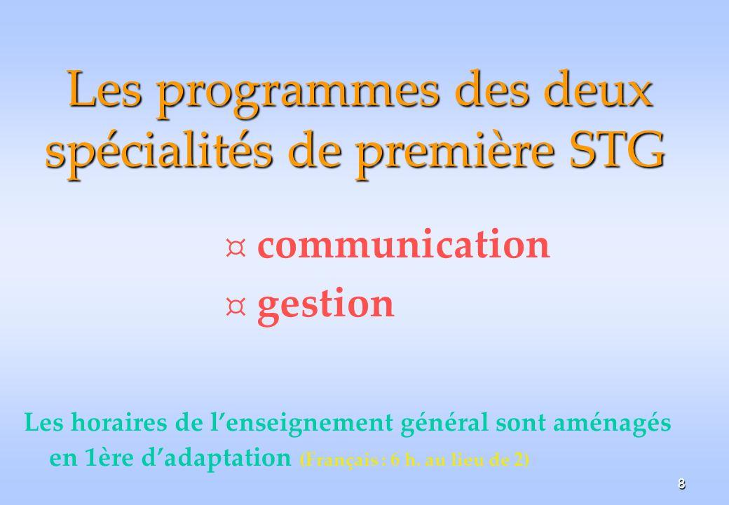 Les programmes des deux spécialités de première STG