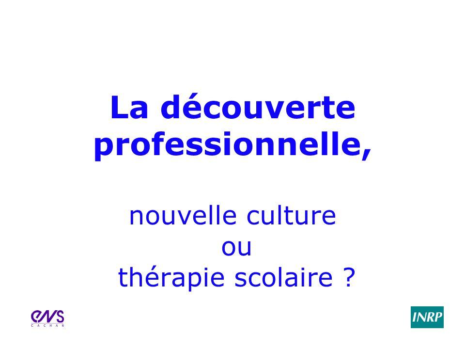 La découverte professionnelle, nouvelle culture ou thérapie scolaire