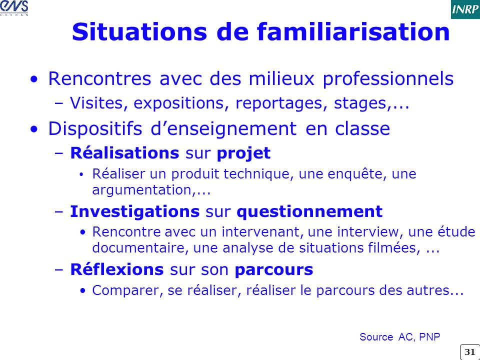 Situations de familiarisation