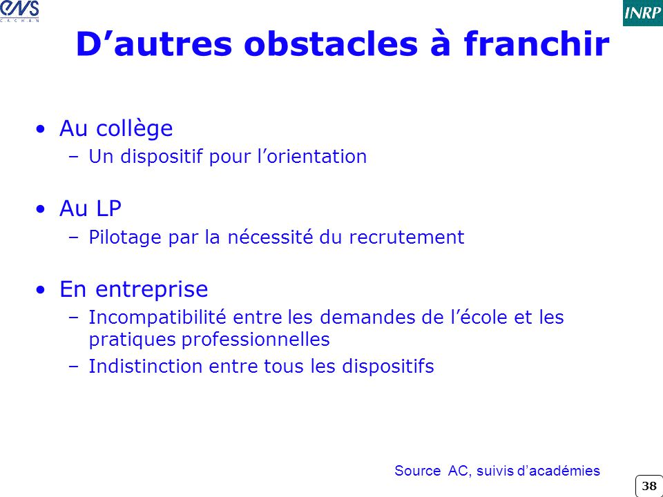 D'autres obstacles à franchir