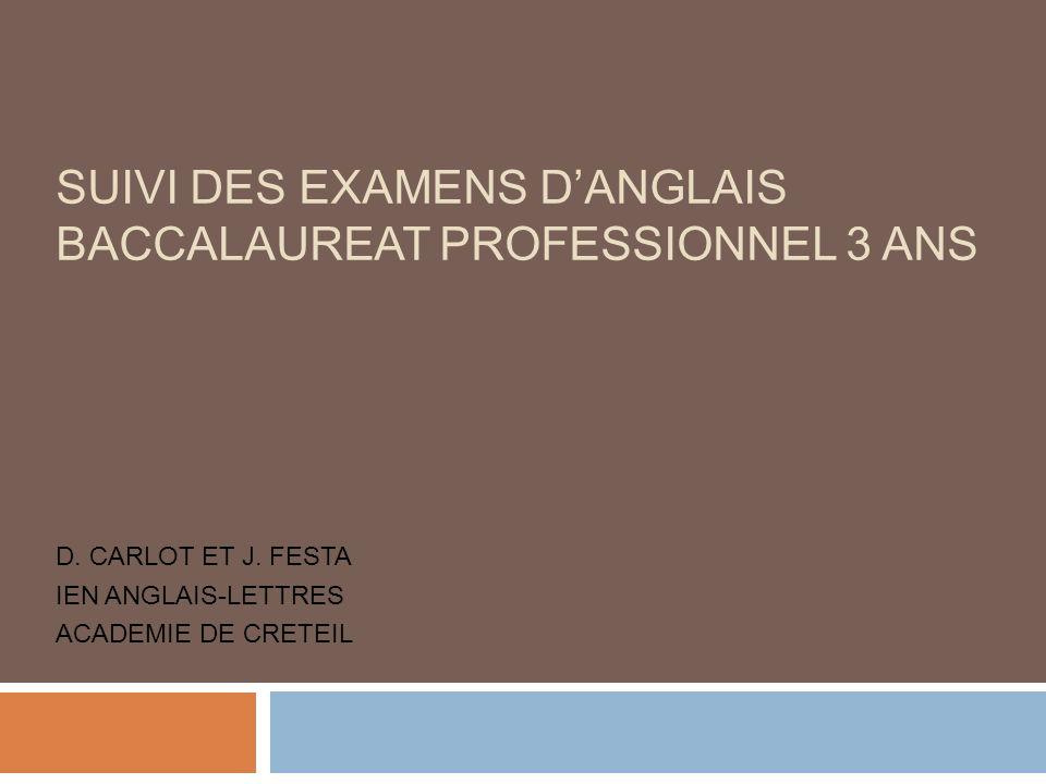 D. CARLOT ET J. FESTA IEN ANGLAIS-LETTRES ACADEMIE DE CRETEIL