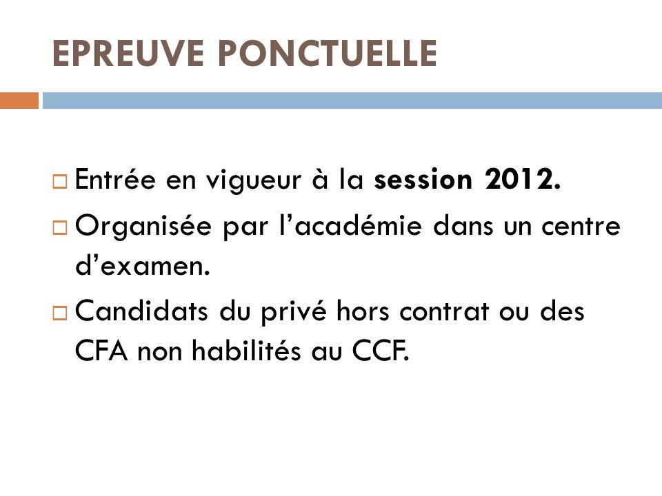 EPREUVE PONCTUELLE Entrée en vigueur à la session 2012.