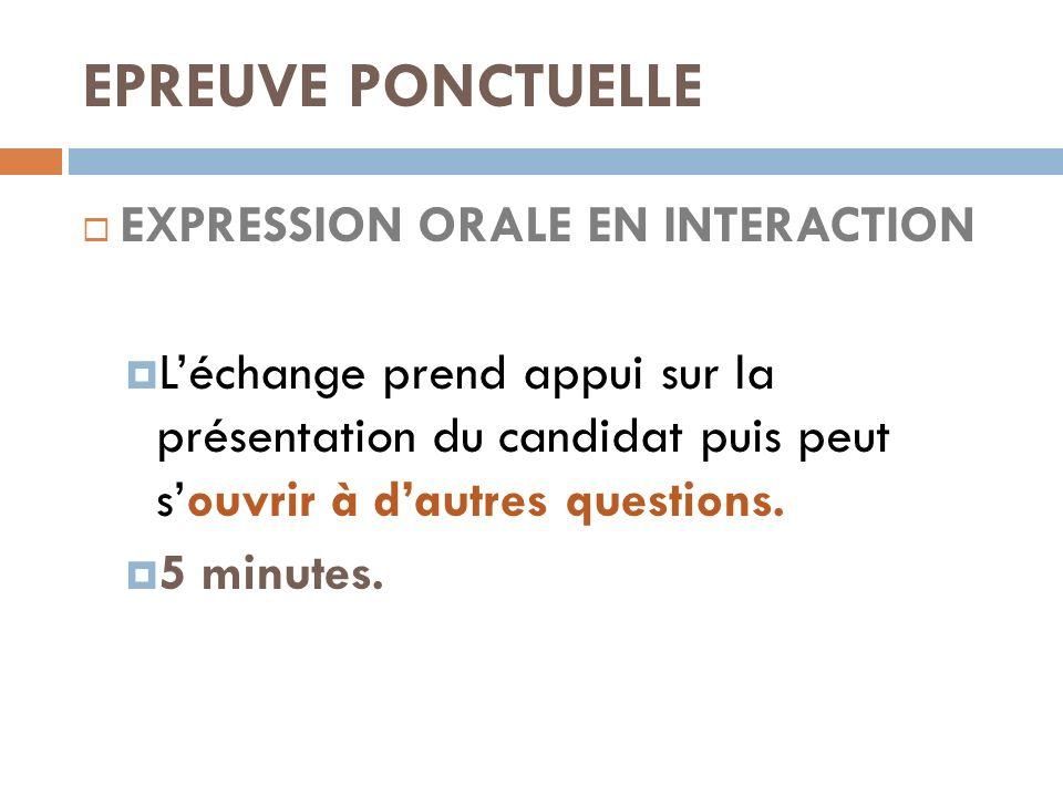 EPREUVE PONCTUELLE EXPRESSION ORALE EN INTERACTION