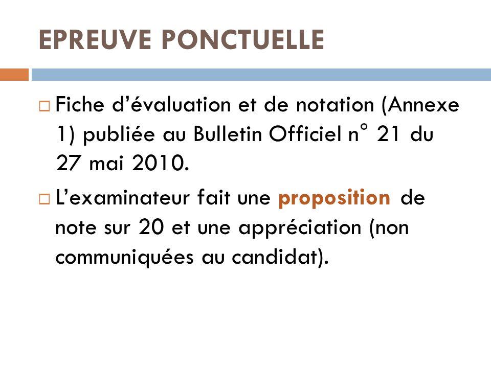EPREUVE PONCTUELLE Fiche d'évaluation et de notation (Annexe 1) publiée au Bulletin Officiel n° 21 du 27 mai 2010.