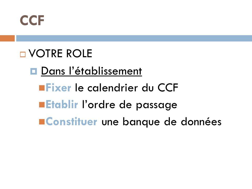CCF VOTRE ROLE Dans l'établissement Fixer le calendrier du CCF
