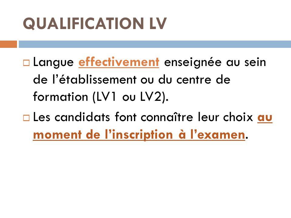 QUALIFICATION LV Langue effectivement enseignée au sein de l'établissement ou du centre de formation (LV1 ou LV2).