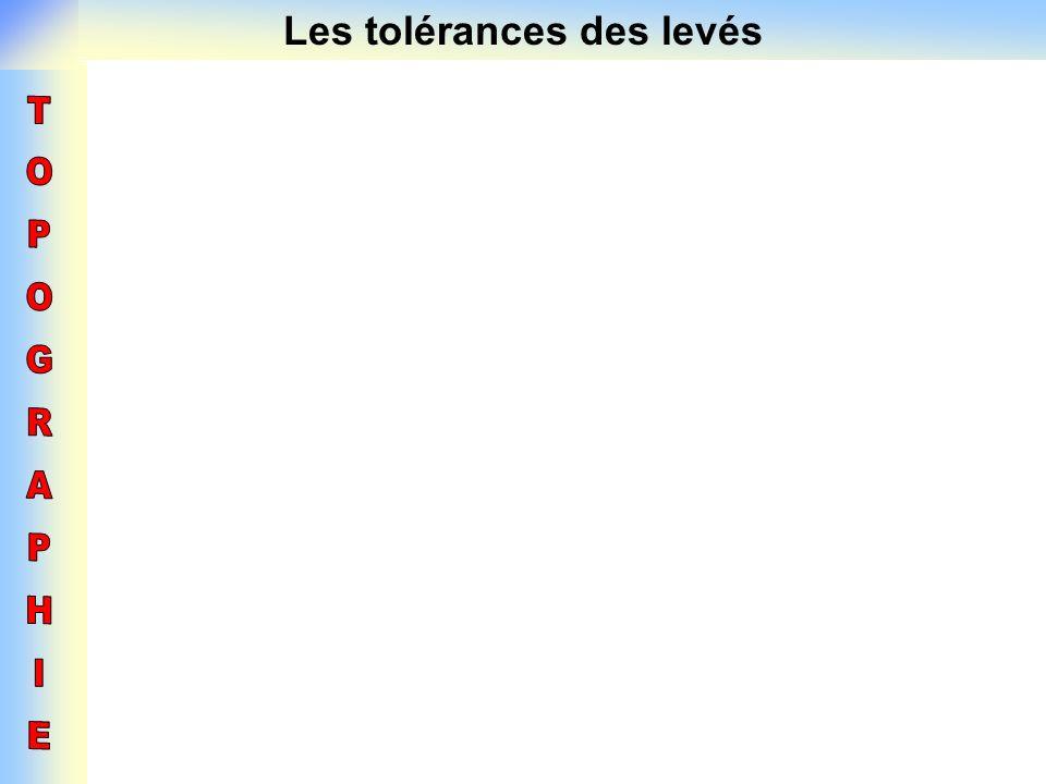 Les tolérances des levés